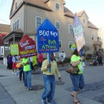 (Photo Courtesy Brandon German) A March 22 City Life/Vida Urbana anti-foreclosure vigil in Hyde Park draws protesters.