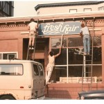 (Courtesy Photo) Fresh Hair's first sign being installed in the summer of 1982.