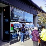 The Warren campaign office in Hyde Square on Election Day. (Gazette Photo by Peter Shanley)