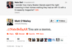(Image by Gazette Staff) A screenshot of the Twitter exchange between Bell and O'Malley.