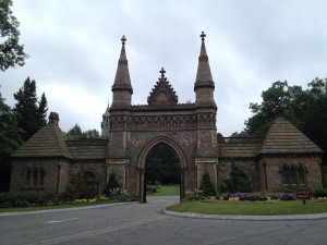 The stone gate at the entrance to Forest Hills Cemetery. (Gazette Photo by Rebeca Oliveira)