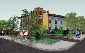 A rendering of the project at 461 Walnut Ave. (Image Courtesy Elton+Hampton Architects)