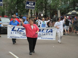 Local state Rep. Liz Malia marching in the Boston Pride parade on June 11. Courtesy Photo by Patrick O'Connor
